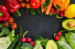 Concept of Healthy Food, Fresh Vegetables and Fruits royalty free stock images