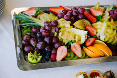 The concept of healthy food, fruit assortment on the tray Royalty Free Stock Photography