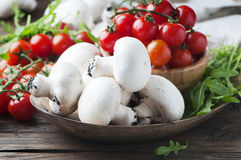 Concept of healthy food with tomato and champignon Royalty Free Stock Image