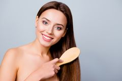 Concept of healthy good hair. Pretty beautiful charming woman wi stock photos