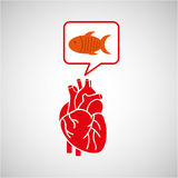 Concept healthy heart fish fresh icon. Vector illustration eps 10 Stock Photography