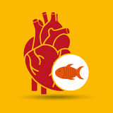 Concept healthy heart fish fresh icon. Vector illustration eps 10 Royalty Free Stock Photos