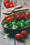Concept of healthy italian food. With arugula, tomato and cheese, selective focus and toned image stock image