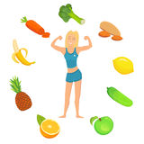 concept healthy lifestyle νέα γυναίκα ικανότητας με καλά τα τρόφιμα διανυσματική απεικόνιση