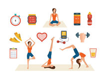 Concept of healthy lifestyle, fitness and physical Stock Photos