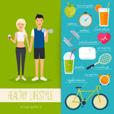 Concept of healthy lifestyle infographics. Young man and woman l Stock Image