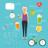 Concept of healthy lifestyle infographics. Royalty Free Stock Photos