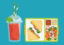 Lunchbox with healthy food. The concept of a healthy lifestyle,. The concept of a healthy lifestyle, losing weight, lose weight. Vector. Lunchbox with healthy Stock Images