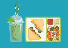 Lunchbox with healthy food. The concept of a healthy lifestyle,. The concept of a healthy lifestyle, losing weight, lose weight. Vector. Lunchbox with healthy Royalty Free Stock Photography
