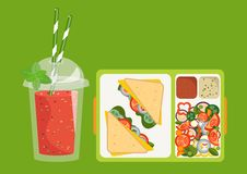 Lunchbox with healthy food. The concept of a healthy lifestyle,. The concept of a healthy lifestyle, losing weight, lose weight. Vector. Lunchbox with healthy Royalty Free Stock Photos