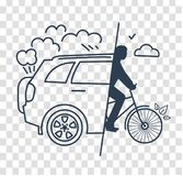 Silhouette World Car free Day. Concept of a healthy lifestyle in the replacements of a car change to a bicycle. Icon silhouette in the linear style stock illustration