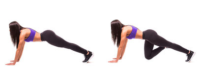 Concept of healthy lifestyle in set. Sport beauty woman do plank fitness exercises on white background. Woman demonstrate begin an stock photos