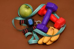 The concept of a healthy lifestyle, sports and diet Stock Images