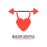 Concept of healthy lifestyle with training heart Royalty Free Stock Photo