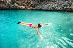 Concept of healthy living, sports and watersport details. Snorkeling with special equipment in clear wather Stock Photos