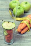 Concept of healthy nutrition and dieting. Photo of glass with st stock photography