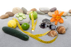 Concept of healthy nutrition, weight loss and beach Stock Photos
