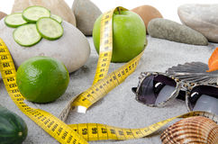 Concept of healthy nutrition, weight loss and beach Stock Photo