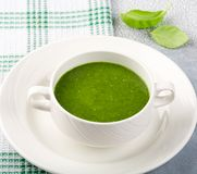 The concept of a healthy, vegetarian or dietary food: cream spinach soup, with pine nuts and basil. With slices of vegetarian royalty free stock image