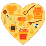 Concept heart illustration. Set of honey Royalty Free Stock Photo