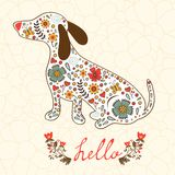 Concept hello card with floral badger dog Stock Images