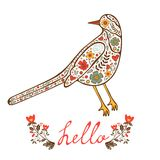 Concept hello card with floral decorative bird. Vector illustration Stock Image