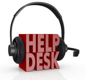 Concept of help desk service. The text help desk and headphones with a mic over it (3d render Royalty Free Stock Photos