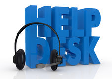 Concept of help desk service. The text help desk and headphones with a mic near it (3d render Stock Images