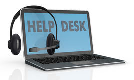 Concept of help desk service. One computer notebook with the text help desk on the screen and headphones with mic over it (3d render Stock Images