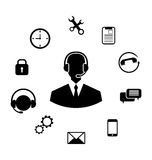 Concept of Help Desk Service. Illustration Concept of Help Desk Service, Call Center with Operator with Headset, Minimalistic Icons - Vector Stock Images
