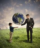 Help new generation. Concept of help new generation from pollution Stock Photos