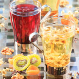 Concept of herbal tea. Variety of herbal teas in glass mugs. Hea Stock Image