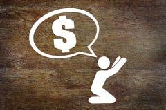 Concept het bedelen voor geld Stock Afbeeldingen