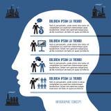 Concept het bedrijfs van Infographic met Menselijk Hoofd Stock Foto