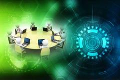 Concept het bedrijfs van het Netwerk 3d geef terug Stock Afbeelding