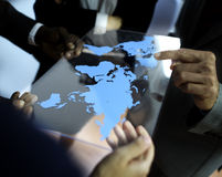 Concept het bedrijfs van Team Global Business Planning Working Stock Foto