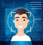 Concept het biometrische gezicht van de aftastenmens s, digitale erkenning, identiteitskaart-aftasten, futuristische digitale ach stock afbeelding