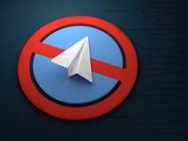 Concept het blokkeren van een toepassing voor overseinentelegrammen Blokkerend telegram Royalty-vrije Stock Foto's