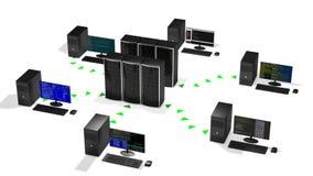 Concept het centrum van wolkengegevens het ontvangen regeling, lijn stock illustratie