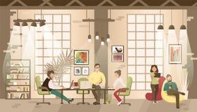 Concept het coworking bureau stock illustratie