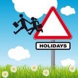 Concept het gaan op vakantie met een beeldverhaal stock illustratie