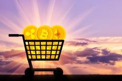 Concept het kopen en het verkopen van crypto munt royalty-vrije stock afbeelding