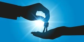 Concept het kopen van een huis of een auto met iemand die de sleutels geven aan de nieuwe eigenaar stock illustratie