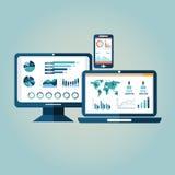 Concept het onderzoeksinformatie van websiteanalytics en de analyse die van gegevensverwerkingsgegevens moderne Gr gebruiken Stock Afbeelding