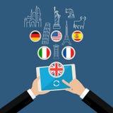 Concept het studing van talen of de planning van vakantie Stock Afbeeldingen