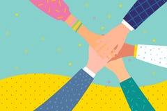 Concept het teamwerk Vrienden met stapel handen die eenheid en groepswerk tonen stock illustratie
