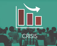Concept het van de bedrijfs recessiedaling van Barchart Stock Foto's