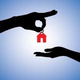 Concept het verkopen van of het gifting van huisillustratie Stock Afbeeldingen