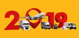 Concept het wereldwijd van het ladingsvervoer nieuw het jaarteken van 2019 het 3d teruggeven, vector illustratie