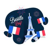 Concept heureux de célébration de jour de bastille Images stock